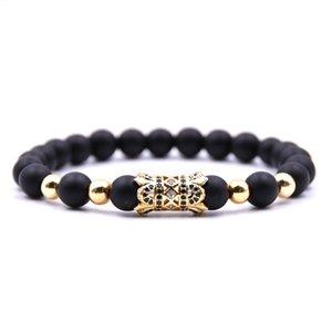New Fashion Black Natural Stone Trendy Micro Paved Flower Beads Bracelet For Men Women Handmade Jewelry Pulsera Accessories
