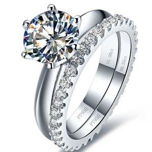 브랜드 신부 세트 반지 총 3.55ct 쥬얼리 세트 SONA 약혼 합성 다이아몬드 반지 세트 스털링 실버 화이트 골드 도금 반지