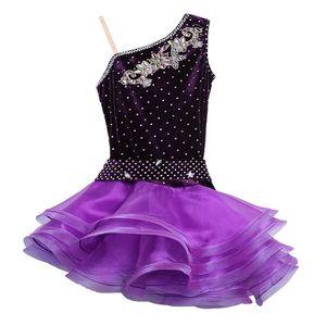 Sexy Samt Tanz Kostüme Wettbewerb Kleider Kleid Salsa Dancewear Tango Kleidung Mädchen Gesellschaftstanz Kleider für Kinder Latin