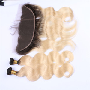 Ombre Blonde 613 Trama di capelli umani vergini con frontale 1B 613 Onda di corpo malisista Ombre 13x4 chiusura frontale di pizzo con 3 Bundle 4 pezzi Lotto