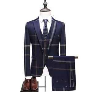 FOLOBE Fashion Plaid 3 UNIDS Trajes para hombre Novio de la boda Talla grande Slim Fit Casual Esmoquin traje formal de negocios Hombre traje de rejilla azul