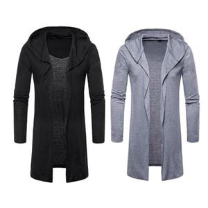 Sıcak Erkekler Bahar Sonbahar Siper Palto Ceket Rahat Kapşonlu Hırka Uzun Pelerinler Cloak Dış Giyim Açık Dikiş masculino Coat
