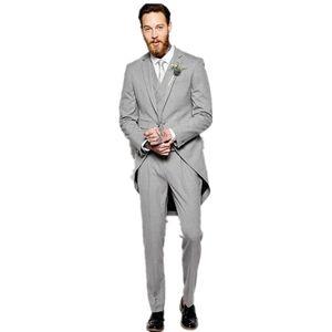 새로운 밝은 회색 신랑 턱시도 웨딩 남자 정장 3 조각 (자켓 + 바지 + 조끼 + 넥타이) 노치 라펠 맞춤 제작 슬림 피트 prom 옷 240