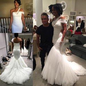 Greek Dream Correas de un solo hombro Mermaid Beach Wedding Dresses 2018 New Modest Tulle Elegant de longitud completa Beach Bohemain Vestidos de novia
