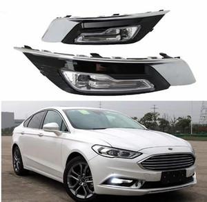 1Pair DRL For Ford Mondeo Fusion 2018 주간 주행 등 안개등 커버 흰색 주간 주행 등