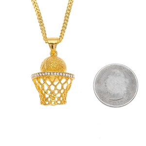 Fashion Hip Hop Iced Out 14K Gold Plated Mini Basketball Rim Pendant Necklace Long Chain Necklaces Mens Jewelry Gold Silver 2 Colors KKA1861
