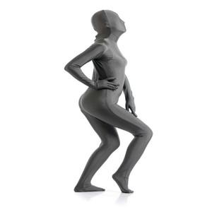 (SCF031) Dunkelgrauer Spandex Nylon Lycra Fetisch Zentai Anzug Ganzkörper Unisex Zweite Haut Transparent Enge