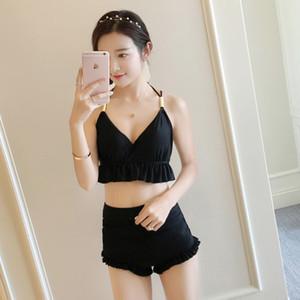Coreano Verão Sexy Simples Preto Sem Mangas Halter Princesa Tankini Maiô Two Piece Modest Swim Suit