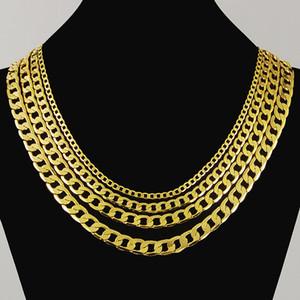 Никогда не ржавчины роскошь фигаро цепь ожерелье 4 размер мужчин ювелирные изделия 18k настоящие желтые позолоты 9 мм хип-хоп цепь ожерелье для женщин мужчин