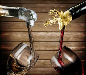 Bec verseur de vin et bouchon Aérateurs de vin en acier inoxydable Cerf Stag Head Bec verseur de vin Stags Head Bouteille Stopper couleurs argentées