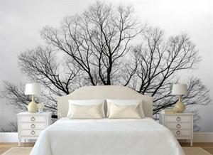 사용자 정의 벽지 블랙 화이트 나무 나무 벽 텔레비젼 배경 벽 거실 침실 벽면 벽 3 d