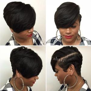 흑인 미국 여성을위한 짧은 가발 리안 짧은 픽시 인간의 머리 가발 자연 브라질 짧은 레이스 앞면 인간의 머리카락 가발 흑인 여성을위한