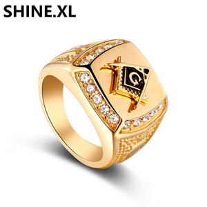 Hip Hop Mason Erkek Yüzükler Erkek Vintage Kristal Masonik Altın Renk Yüzük Boyutu 7-14 Zirkon CZ Çinko Alaşım AG Yüzükler