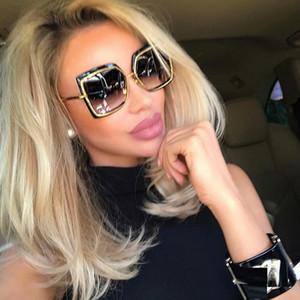 Мода Негабаритных Квадратные Солнцезащитные Очки Женщин Металла Площадь Солнцезащитные Очки Бренд 2018 Женский Оттенки Зеркало Большой Размер Каркас Солнцезащитные Очки Gafas