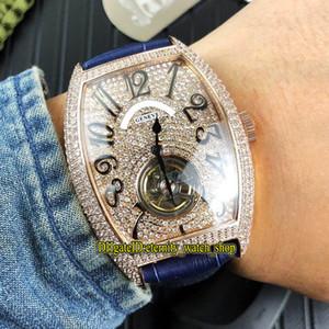 3 cores de alta qualidade Cintree curvex 8880 T dial Diamond Tourbillon Automatic Mens Watch Rosa do diamante de ouro de couro Correia Gents Relógios