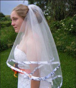 2016 신제품 Arrival Elbow Length 웨딩 리본 Edge Short 2 Layer Bridal Veil