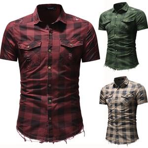 Homens Camisas Manta de Manga Curta Slim Fit Turn Down Collar Camisas com Bolsos 3 Cores Verão Rasgado Camisa Denim Plus Size