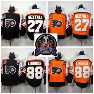 1997 Stanley Cup Finali Siyah Turuncu Philadelphia Flyers Ron HEXTALL 88 Eric Lindros Hokeyi Jersey Vintage Eric Lindros Dikişli Formalar