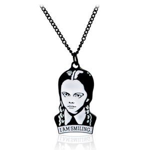 Collar de Addams Adams del miércoles Collar de la familia Addams Colgante de joyería Addams Cita Gothic Goth Dark Gift
