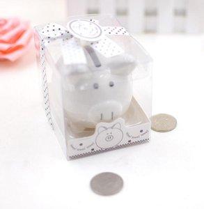 DHL керамический Mini Piggy Bank в подарочной коробке с горошек Лук Coin Box для Baby Shower партии сувениры Крещение Подарки нт
