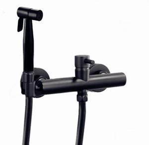 무광택 검정 작은 샤워 스프레이 냉온수 혼합 세트 비데 비데 샤워 블랙 PVC 샤워 토네이라 믹서 BD090