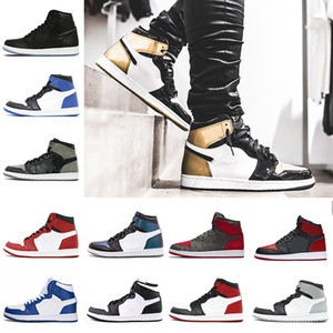 Hot OG 1 Top 3 Hommes Chaussure de blé Bred Or Toe Banned Jeu Royal Blue Fragment UNC Brisé Metallic Red Camo Pack de l'ombre Chaussures de sport