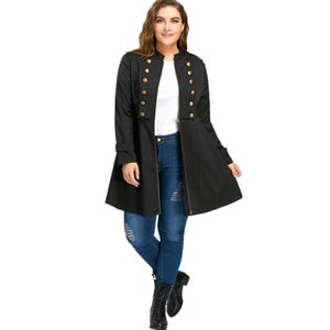 Kenancy 5XL Tallas grandes Mujeres Vintage Trench Coat 4 Colores Sólidos Doble Breasted A Line Flare Coat Manga Larga Feminino Outwear S18101203