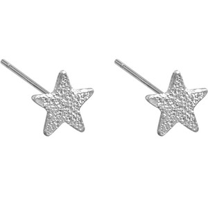 Real 925 Sterling Silver 4.5 MM Pequeño cepillado Star Piercing Stud Pendientes Party Party Costume Jewelry para Mujeres Niñas Regalo caliente
