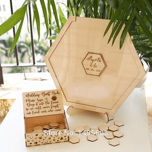 Livro de visitas geométrico do casamento Livro de hóspedes do hexágono Livro de visitas de madeira alternativo, feito sob encomenda, personaliza o sinal do casamento, Hexagon Guestbook