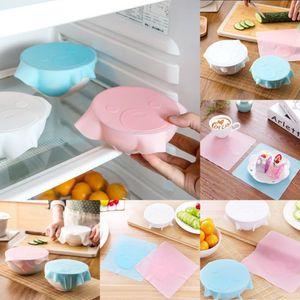 Silikon Lebensmittel Saran Wrap Cartoon Silikon Wraps Mikrowelle Deckel multifunktionale transparente versiegelte Deckelabdeckung FFA309 120PCS