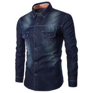 6XL Camisa de mezclilla de gran tamaño para hombre de Europa, Europa Hombre Moda Streetwear Tops Ropa de Chicos Guapos Club Classic Blue Men Slim Denim Shirts