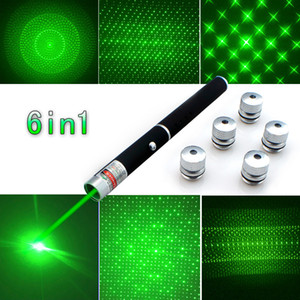 New Arrival Top Quality 6in1 5mw 650nm Red Green Blue Laser Pointer Pen Laser Flashlight + 5 Star Caps Beam Light ,Aperture