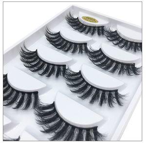 Soft & Vivid 3D mink hair false eyelashes resuable thick natural long mink lashes 5 pairs each set fake eyelashes DHL Free