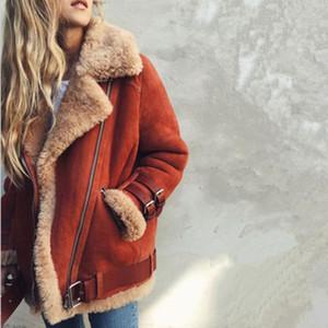 Mujeres de lana de oveja chaqueta de la capa de cuero invierno gruesa solapa mujeres abrigo de pieles Tops