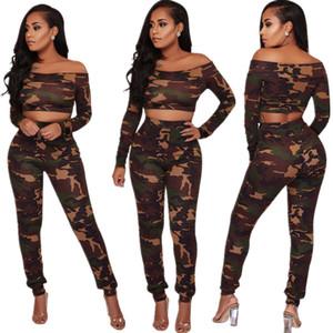 Лето Bodycon платье из двух частей штаны Wrap Chest вскользь платья камуфляже женщин из двух частей Комплекты с длинным рукавом рубашки и брюки