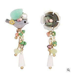 Jiasha Vogel Shell Shell Blume Ohrringe Ohrring Ohrringe Schmuck Frauen asymmetrische natürlichen Wind