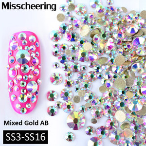 1Pack Mixed(SS3-SS16) Crystal AB Nail Art Rhinestones Non Hotfix Glitter Decorations Gold Flatback Glass Manicure Accessories