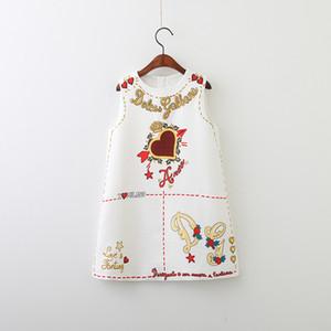 Logotipo do desenhista Roupa do Bebé Crianças Vestidos Bonitos Elegante Floral Impresso Vestido Sem Mangas Saia Logotipo De Coração De Luxo Roupas De Bebê Menina