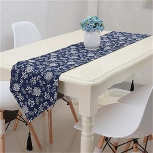 Style ethnique rétro impression coureur bleu motif décoratif lit drapeau de tissu art super doux tables uniques tissu nouvelle qualité 23qcb4 Z