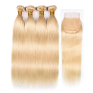 613 Blonde Bundles With Frontal 10A Grade Brazilian Virgin Human Hair Straight Bundles With Closures 613 Blonde Bundles With Closure