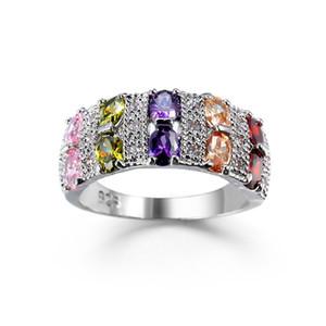 Oro blanco 8 colores Marquise Cut Cubic Zirconia Anillos de compromiso de boda vintage para mujeres y hombres Fashion Party Jewelry Christmas gift