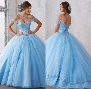2019 Açık Gökyüzü Mavi Balo Quinceanera Elbiseler Cap Kollu Spagetti Boncuk Kristal Prenses Balo Parti Elbiseler Için Tatlı 16 Kızlar
