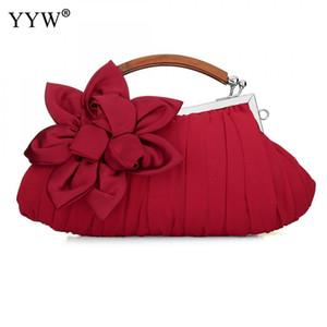 YYW Lady Debriyaj Çanta Kırmızı Gelin Düğün Mini Çanta Çiçek Ziyafet Çanta Ipek Akşam Parti Çantaları Kadınlar Için