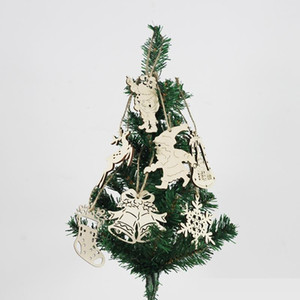 Patrón de forma de campana hueco de madera natural Ornamentos del árbol de navidad del copo de nieve que cuelga la decoración Supplie partido casero colgante