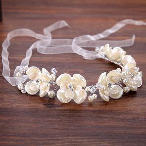 European Wedding Beads Hair Band Flower Pearls Crystal copricapo da sposa Crowns Women Girls hairbands Copricapo Velo da sposa Dress Accessori per capelli