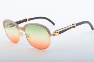 19 Best-seller di alta qualità occhiali da sole di diamante, Moda di fascia alta atmosfera superiore naturale Cornuto specchio occhiali da sole lenti 1.116.728-A