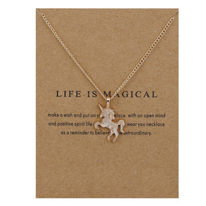 Moda NO LOGO Dogeared New Gold-colore La vita è magica UNICORN Horse Lega Clavicola Catena pendente Chocker Collana gioielli regalo Whosales