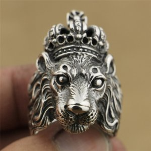Punk Silver Color Crown Lion King Ring Men Boy Punk Retro Vintage Cool Big Mens Biker Lion Head Ring Hip Hop Hombres Mujeres Joyería
