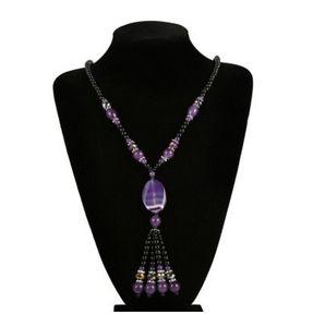 Jiasha natürliche Achat Halskette Retro Runde geometrische Pullover Halskette Großhandel
