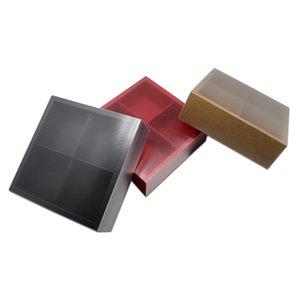 10pcs boîtes de tiroir de papier kraft pliable avec couvercle transparent matte 4 boîtes de treillis cadeaux cadeaux artisanat bijoux savons stockage paquet cas